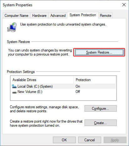 under system protection click system restore