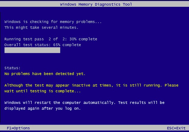 windows memory diagnostic toll will test your ram