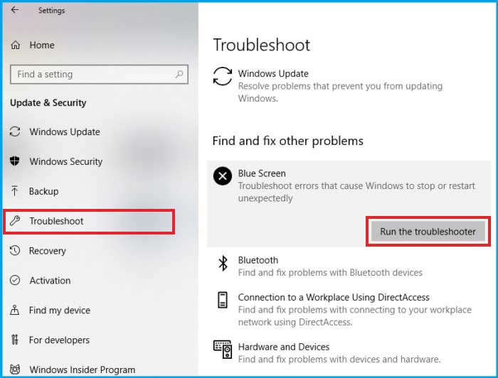 Troubleshoot > Run the Troubleshooter