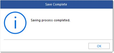 Saving process completed