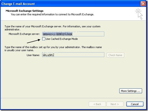 cached exchange mode outlook
