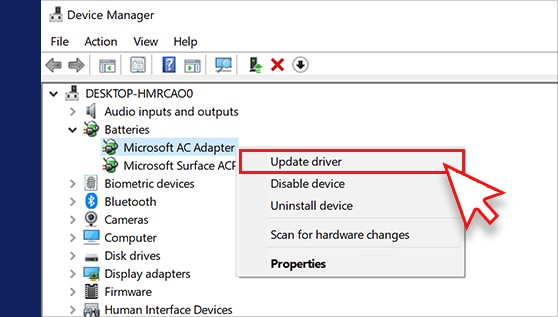 Click on Update the Driver after pressing the right click on Microsoft AC Adapter
