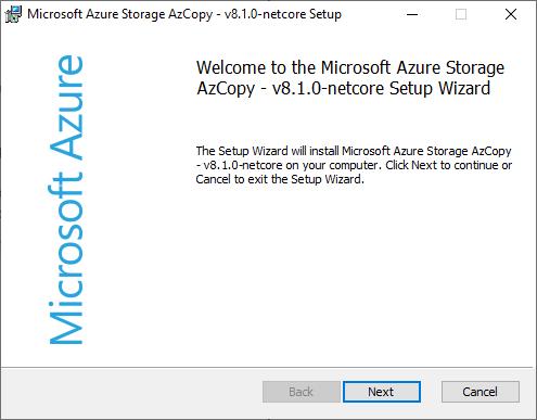 Azure AzCopy install SBS 2011
