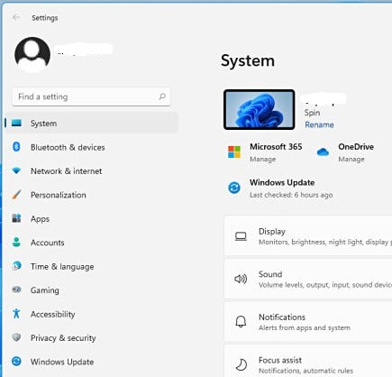 Settings options in Windows 11