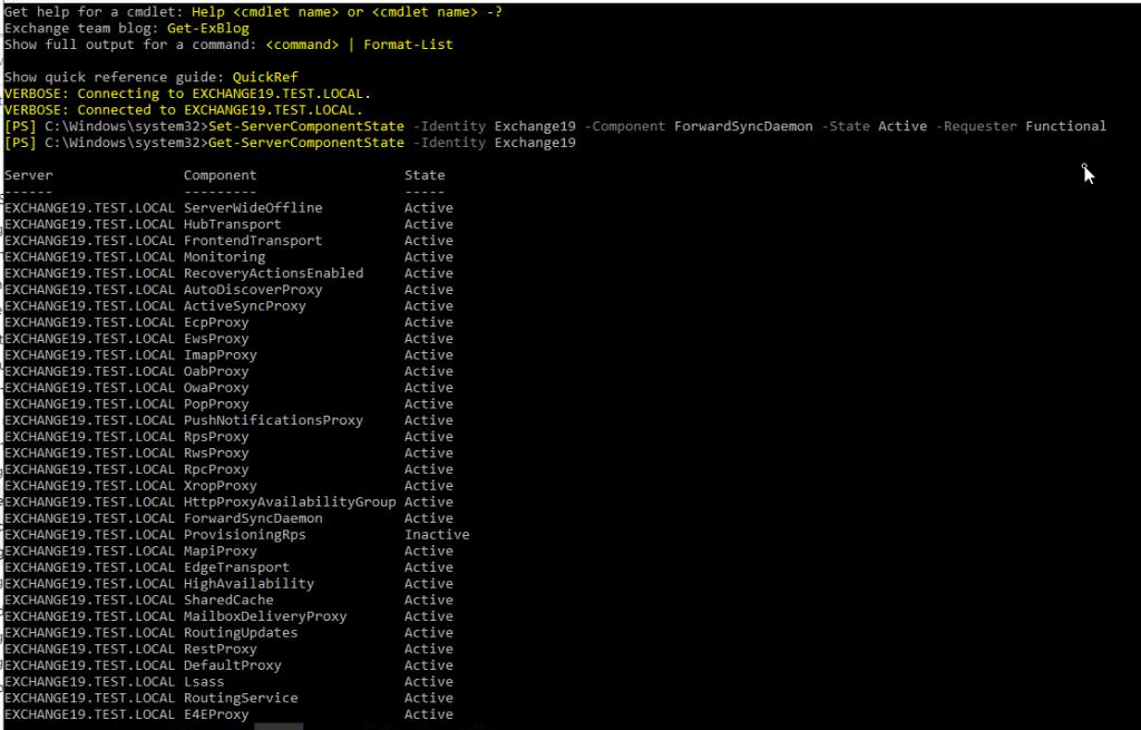 activate inactive exchnage server components