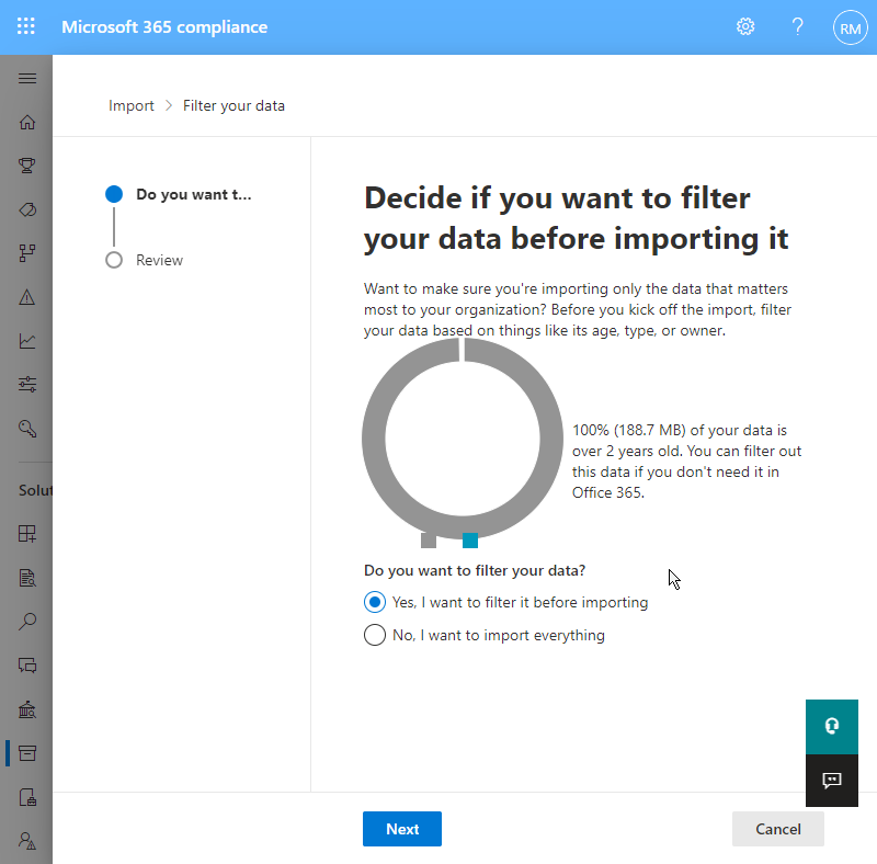 apply filters pst upload office365