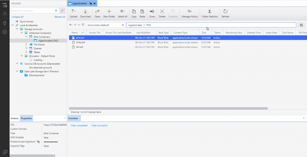 check pst file blob container office365