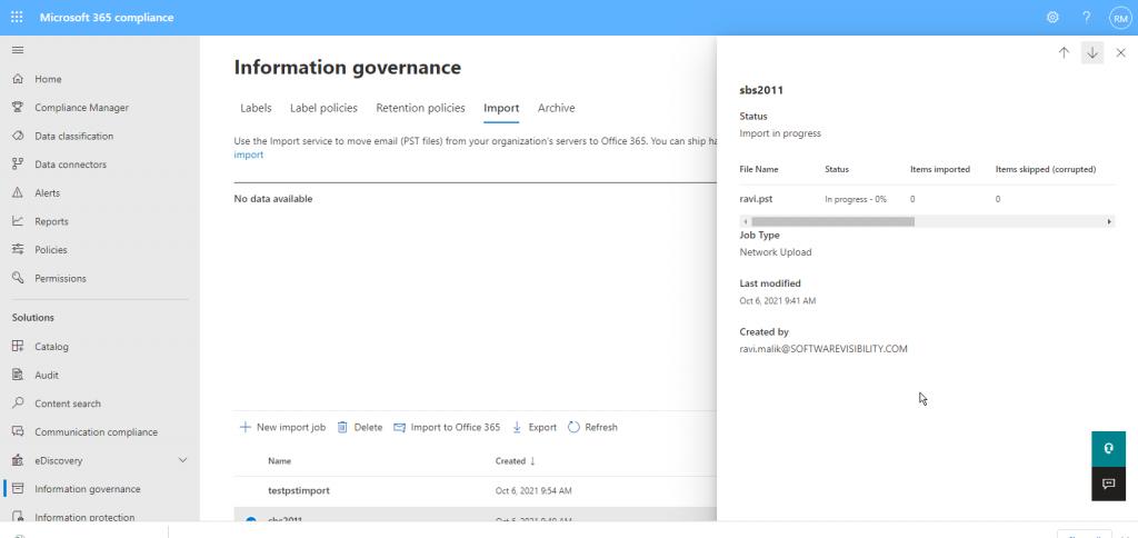 check pst upload and import progress microsoft 365