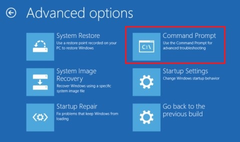 Select Command Prompt from Advance Option