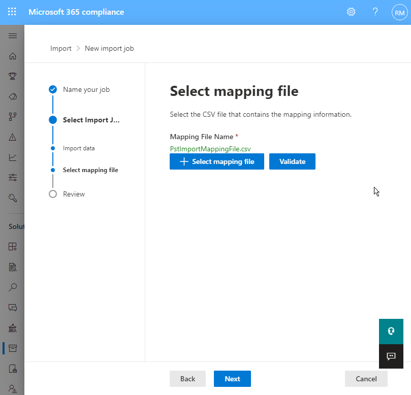 upload mapping file