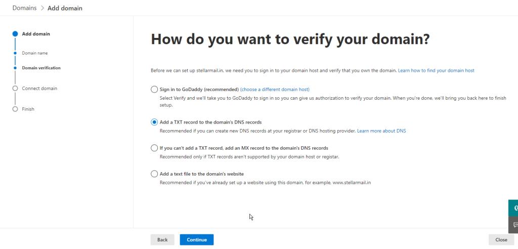 verify domain microsoft 365