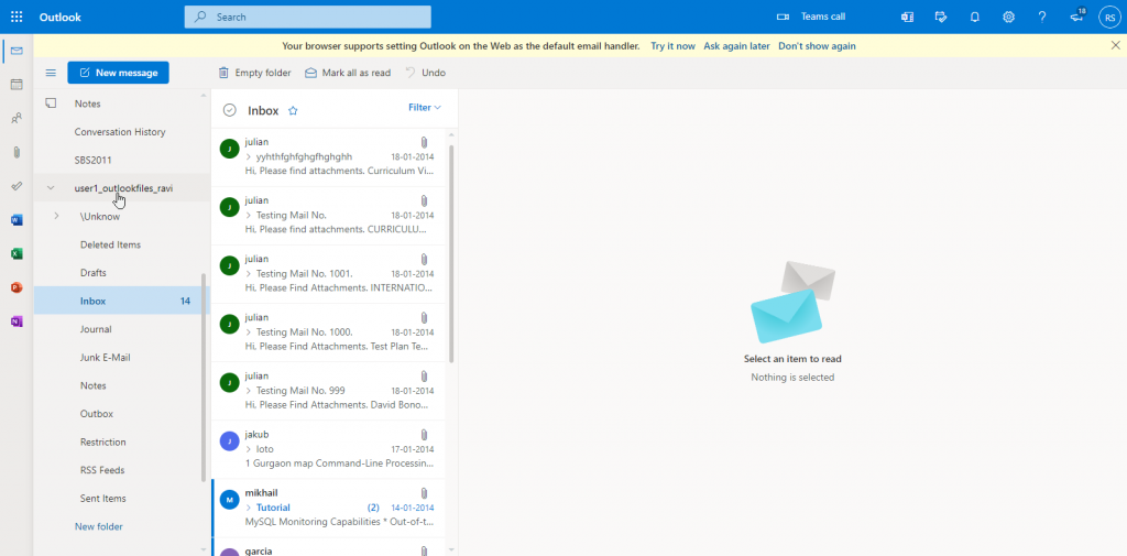verify imported mailbox data outlook 365
