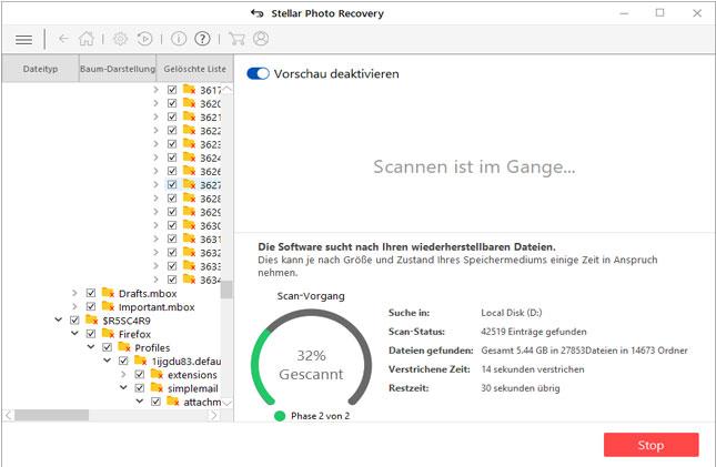 Stellar Photo Recovery - Ein Bildschirm mit dem Scanvorgang wird angezeig