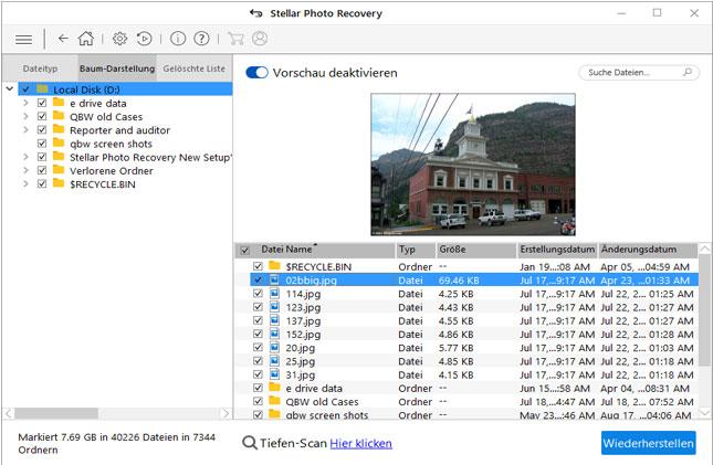 Stellar Photo Recovery - wählen Sie unten die Option Deep Scan