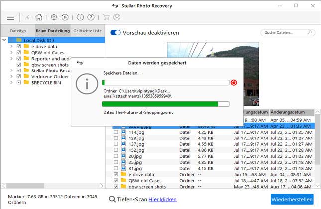 Stellar Photo Recovery - wählen      Sie die Fotos aus die Sie benötigen, klicken Sie mit der rechten Maustaste      und dann auf Wiederherstellen