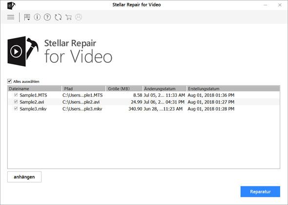 Reparierten Video Dateien