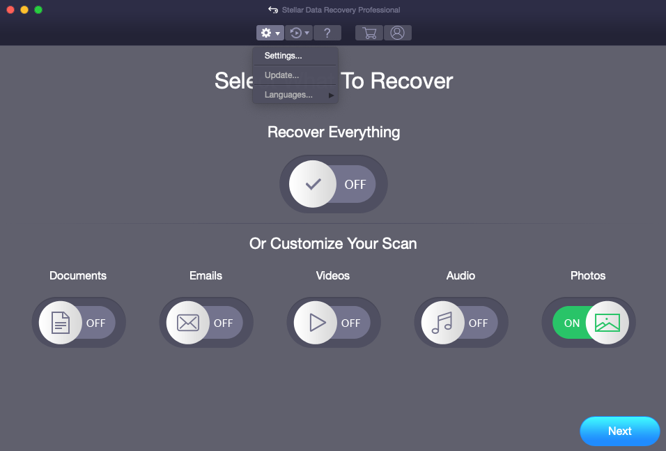 Mac data recovery settings