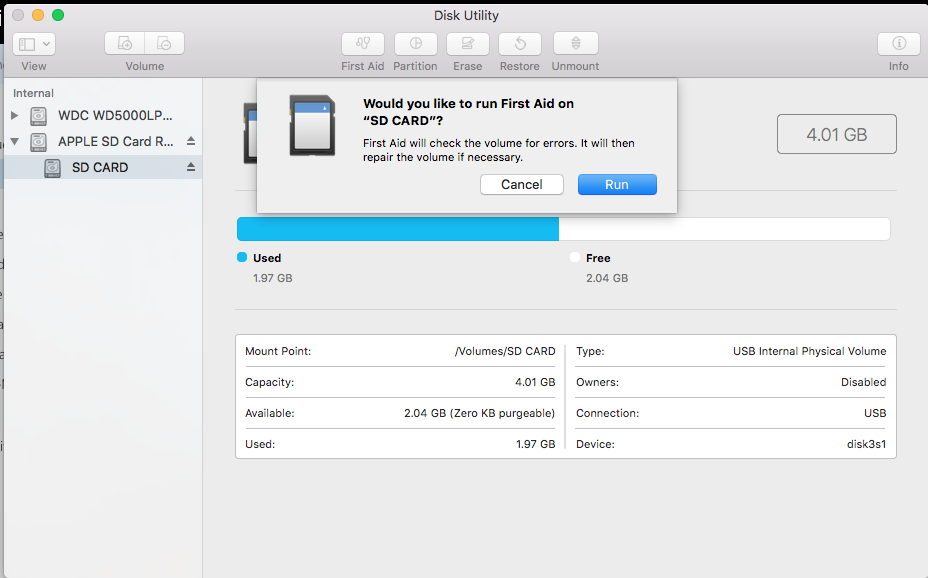 Run First Aid in Disk Utility