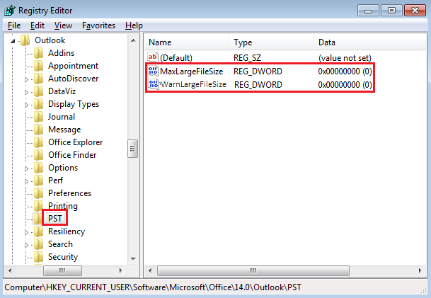 Double-click the PST folder