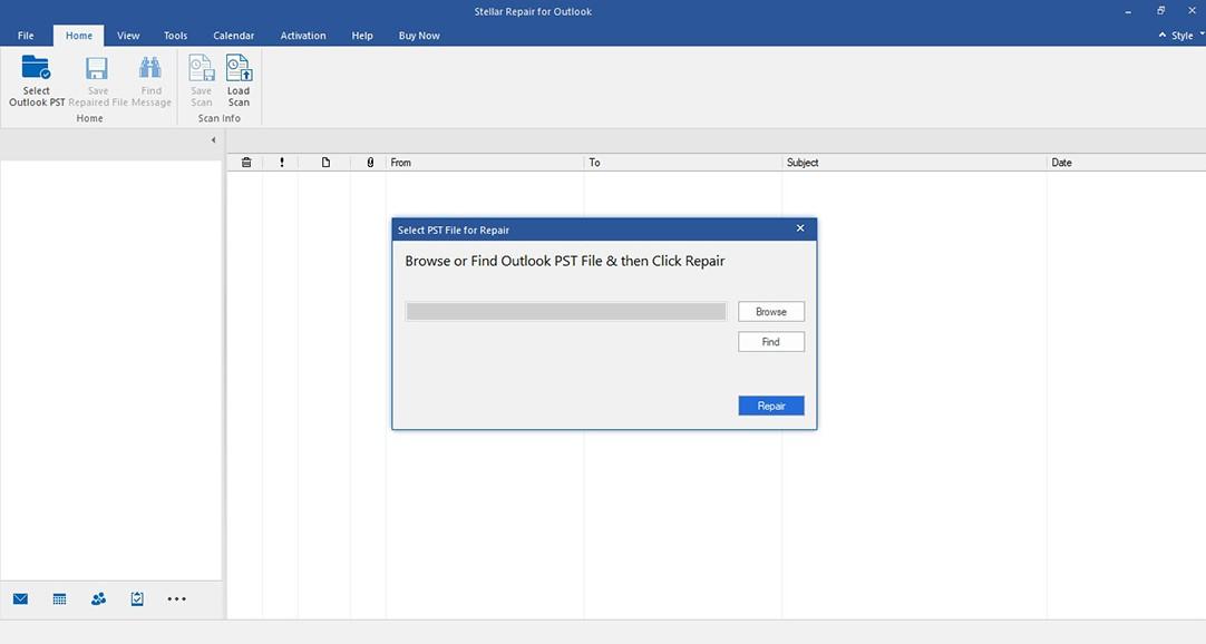 Select PST File for Repair Window