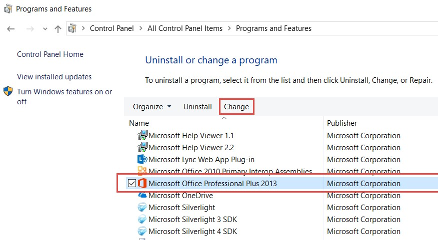 Microsoft Office in Control Panel
