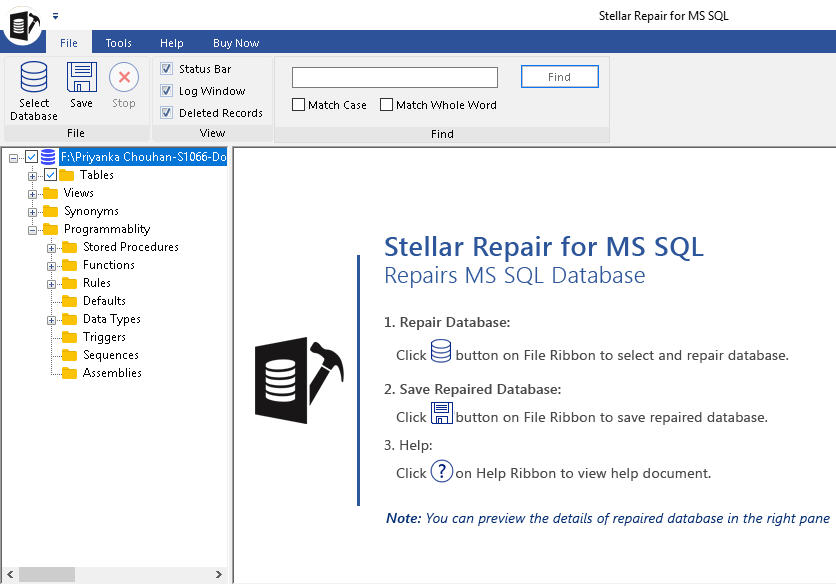 Search mssql database