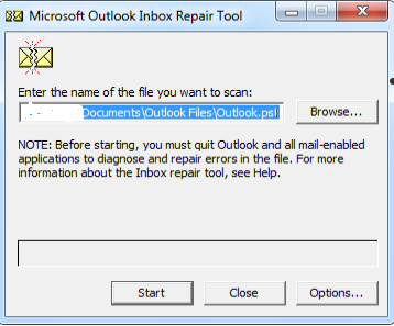 scanpst.exe fails to repair pst file
