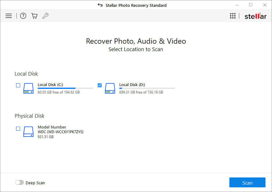 Stellar Photo Recovery - first screen