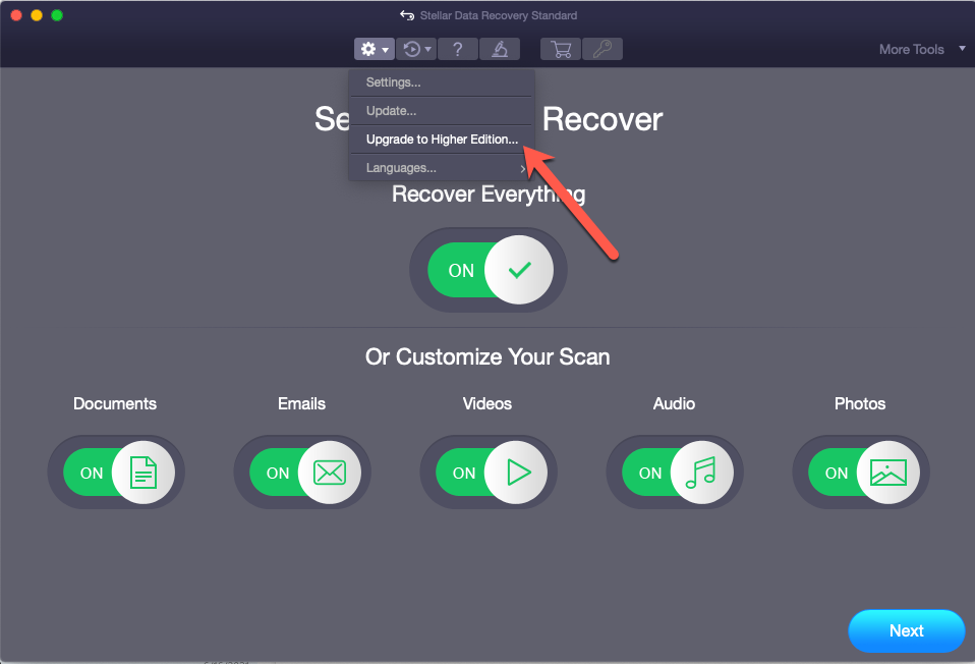 Upgrade Stellar Data Recovery Standard for Mac to Higher Version