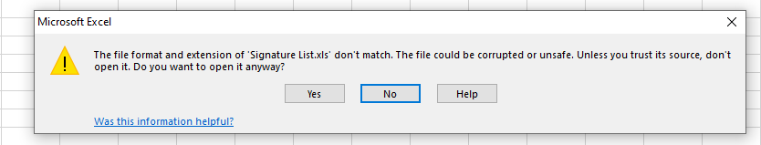 excel file format does not match error