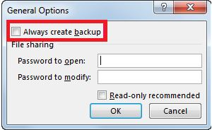 Select Always Create Backup