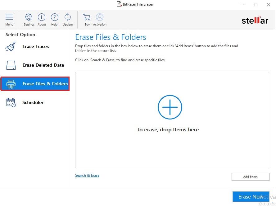 Erase files or folders