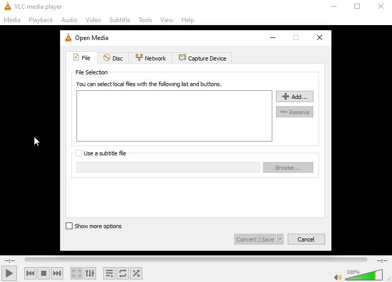 VLC Media Player add file