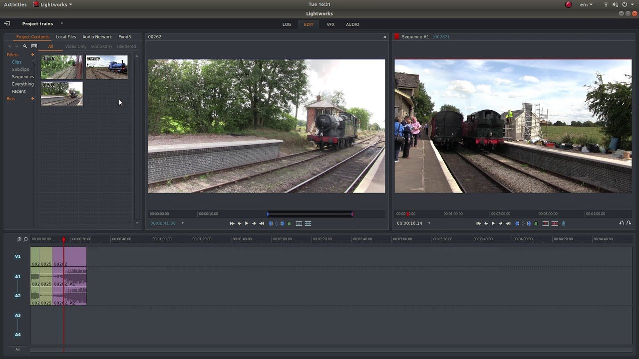Lightworks video editing interface