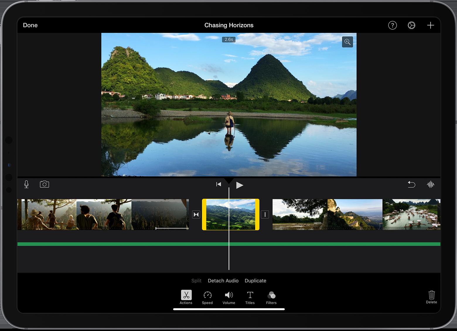 iMovie video editor interface