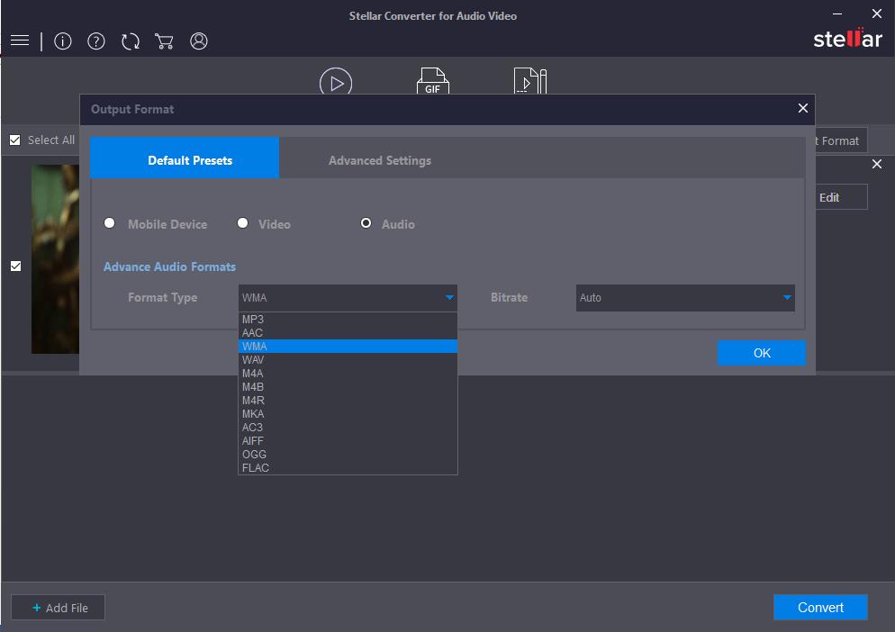 Default Presets options in Stellar Video converter software
