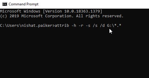 Attrib command in Windows