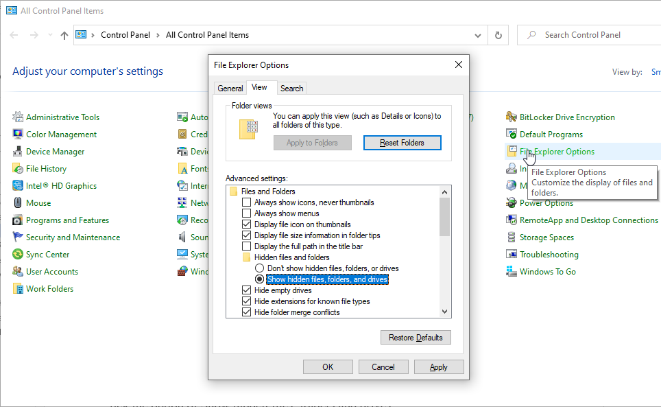 Unhide files from File Explorer Options
