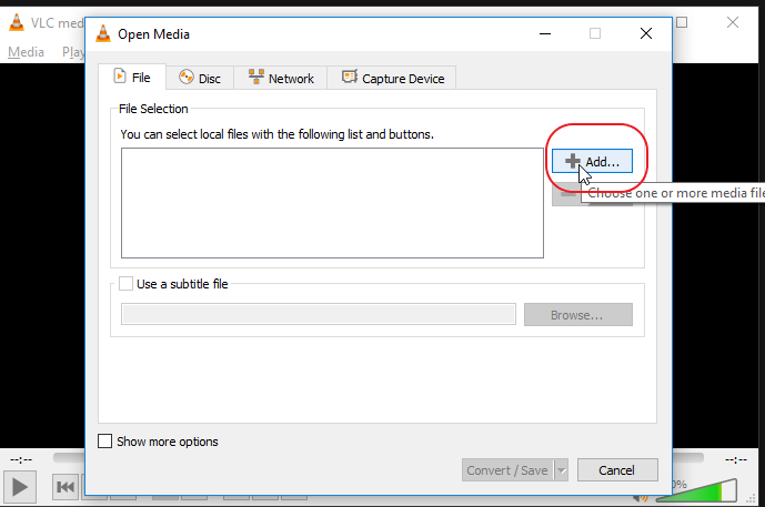 Add downloaded YouTube video file in VLC