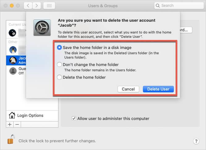 delete User Account Window