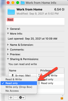Sharing and Permission Options