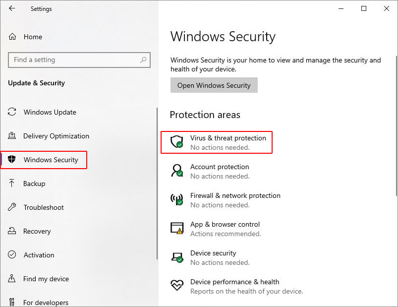 Select Virus & Threat Protection