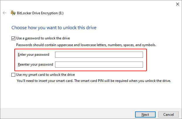 Enter and Confirm the Password