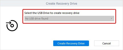 Select Drive to Create Recovery Drive