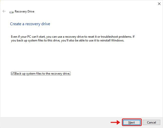 Click Next on Create Recovery Driver Windows