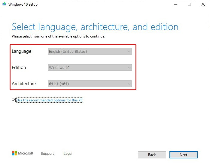Select language Architecture and Windows 10