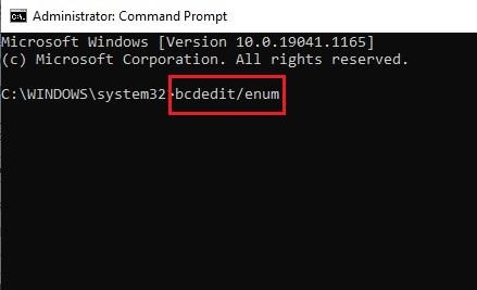 Run bcdedit enum in command prompt