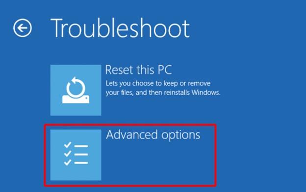Troubleshoot > Advance Option