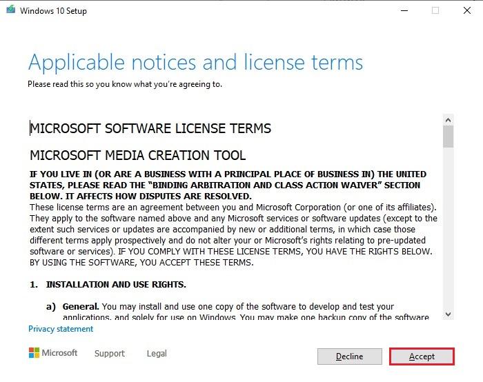 Accept Microsoft software License