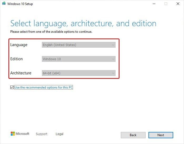 choose Language Architecture and Edition